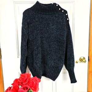 NWT Cynthia Rowley Chenille Black knit sweater S